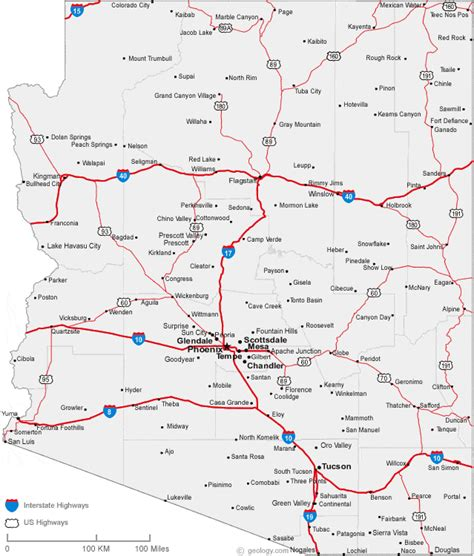 arizona map with cities map of arizona cities arizona road map