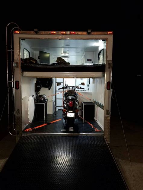 street bike loaded loft bed installed enclosed trailer