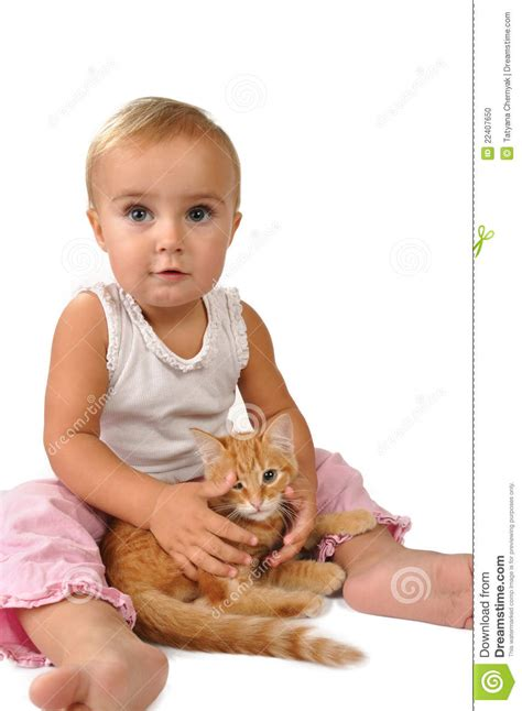cat child child with a cat stock photo image of portrait