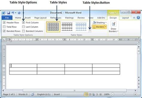 tutorialspoint ms word create a table in word 2010