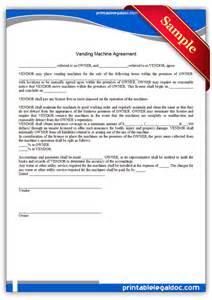 free printable vending machine agreement form generic