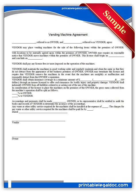 Vending Machine Contract Template Free Printable Vending Machine Agreement Form Generic