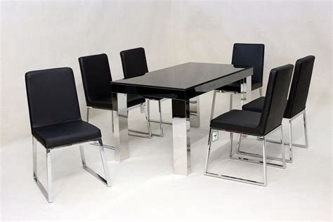 modern black glass dining table and 6 chairs homegenies