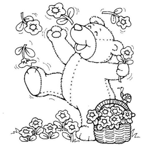 teddy bear with flower coloring page pin by finley kimmie on kids coloring pages pinterest