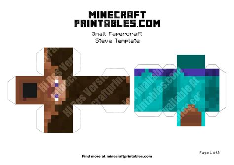 Minecraft Steve Papercraft Template - steve printable minecraft steve papercraft template