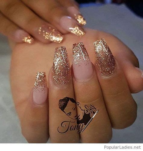 Glitter Nail by Gel Nails With Gold Glitter Tips Toe Nail Designs