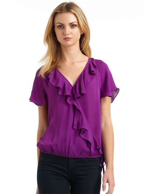 Ulani Blouse joie ulani silk chffion ruffle drawstring blouse in purple