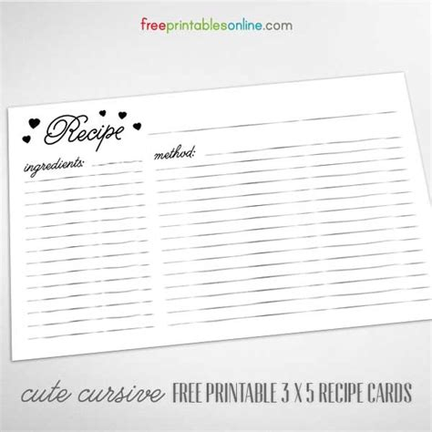 printable recipe cards 3x5 cute cursive 3 x 5 recipe cards to print free printables