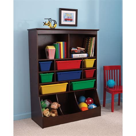 kid storage kidkraft wall storage unit espresso 14982 toy