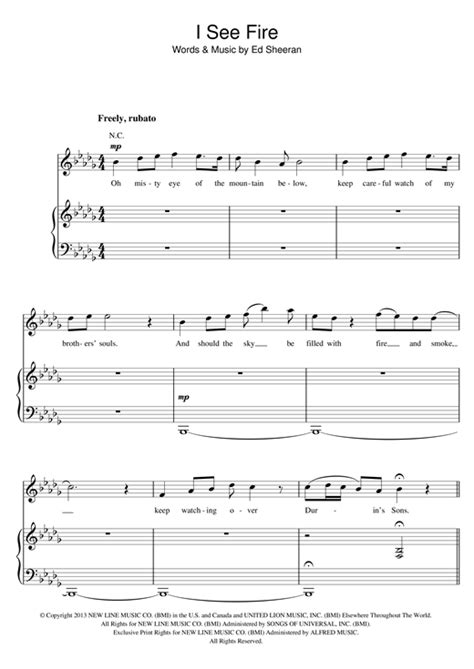 I See Fire piano sheet music by Ed Sheeran - Piano Voice