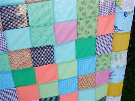 Knitted Patchwork Quilt - vintage 1970s era patchwork polyester knit quilt