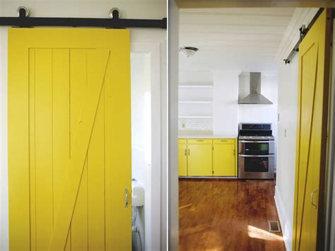Yellow Barn Door Yellow Barn Door In A Kitchen