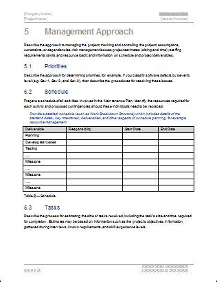 technical approach document template maintenance plan template technical writing tips