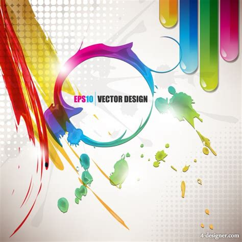 4 designer vector color paint splatter background 03 vector material