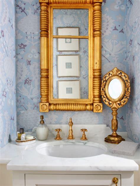 gold mirror bathroom ornate gold mirror transitional bathroom sara tuttle