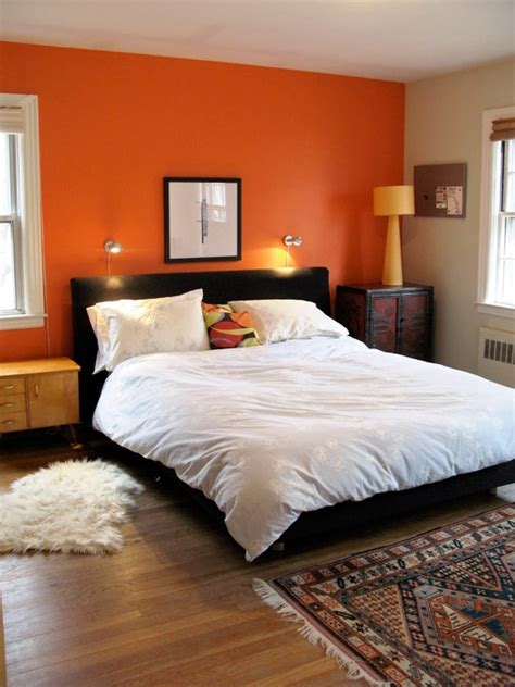 orange bedroom walls orange accent wall bedroom another room