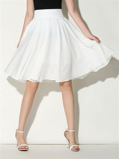 white high waist midi skater skirt choies