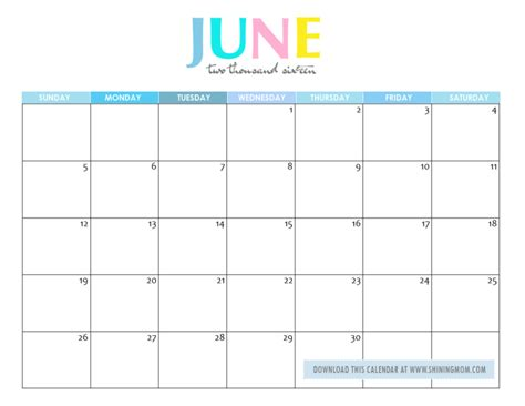 printable month calendar june 2016 free printable your lovely 2016 calendars