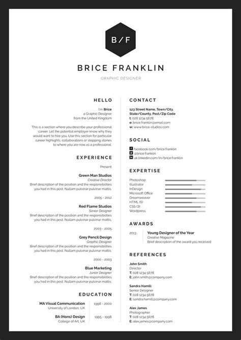 B W Resumes by 1000 Ideas About Professional Cv Exles On