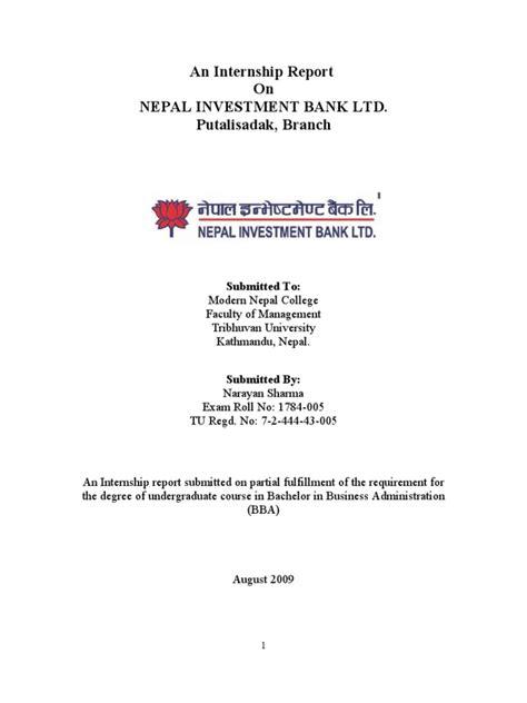 nepal investment bank internship at nepal investment bank limited transaction