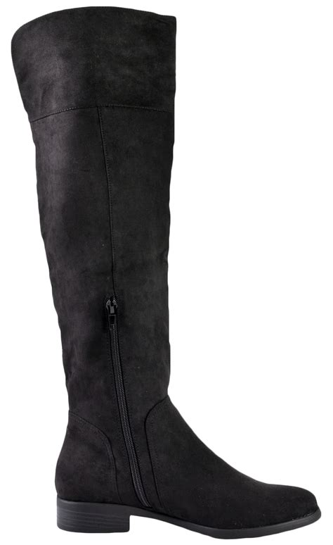 thigh high boots with low heel womens faux suede leather thigh high boots