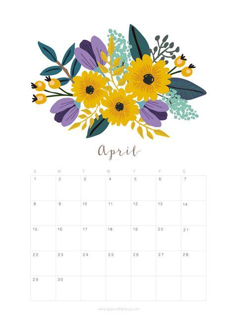 printable calendar 2018 flowers printable april 2018 calendar monthly planner flower