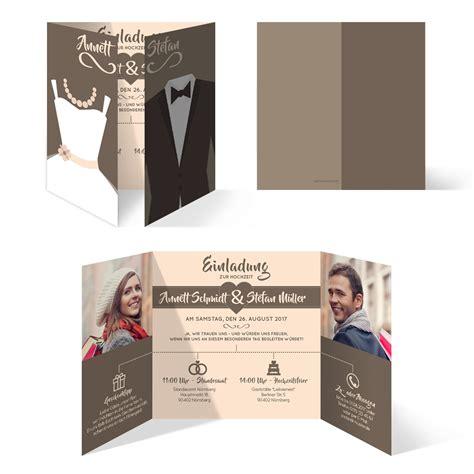 Hochzeitseinladung Bilder by Hochzeitseinladungen Braut Und Br 228 Utigam Altarfalz In Braun