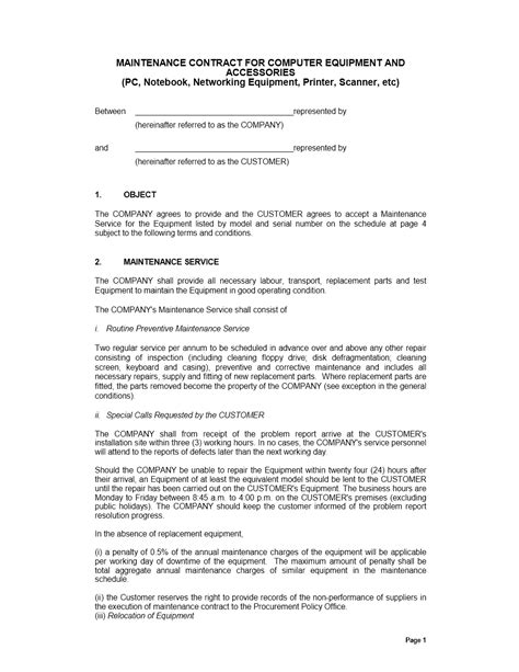 maintenance contract template free maintenance contract template