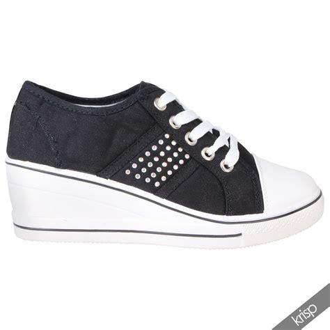 heeled sneakers womens gem canvas high heel wedge trainers sneakers low
