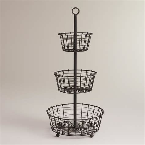 3 Tier Fruit Basket Floor Stand by Espresso Wire 3 Tier Stand By Cost Plus World Market