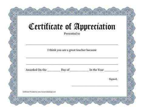 free templates for certificates of appreciation free printable certificate of appreciation templates