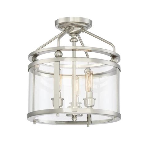 Flush Mount Semi Flush Light Fixtures Shop Quoizel Norfolk 11 87 In W Brushed Nickel Clear Glass Semi Flush Mount Light At Lowes
