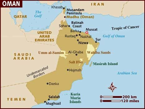 map uae and oman map of oman