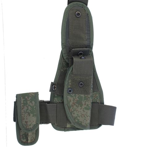 Camouflage Panel Pouch drop leg panel in digital flora emr camo with holster