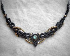 Tiara 2in1 tigereye macrame necklace airy tribal brass organic