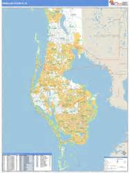 pinellas county florida zip code map pinellas county fl zip code wall map basic style by