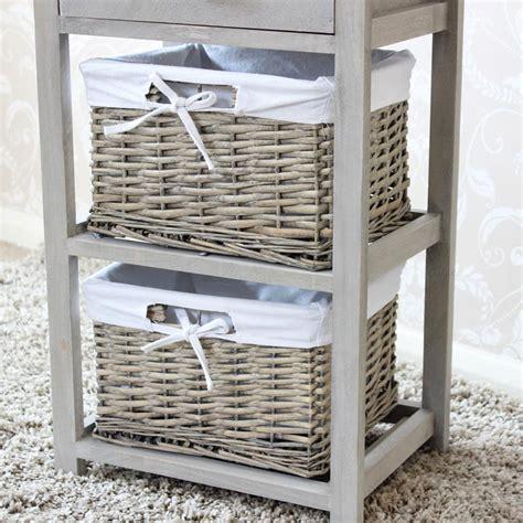 Basket Shelf Storage Unit by Vintage Grey Wooden One Drawer Wicker Basket Storage