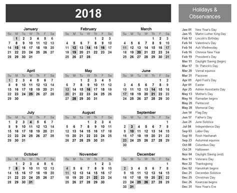 Calendar 2018 List Of Holidays Holidays Archives 2018 Calendar Printable For Free