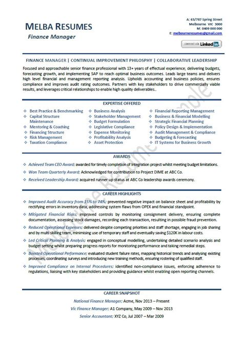 finance manager resume exles accounting resume