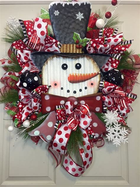 christmas wreath lighted whimsical wreath snowman whimsical black by williamsfloral on etsy