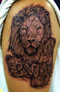 lion and cubs tattoo on biceps tattoobite com