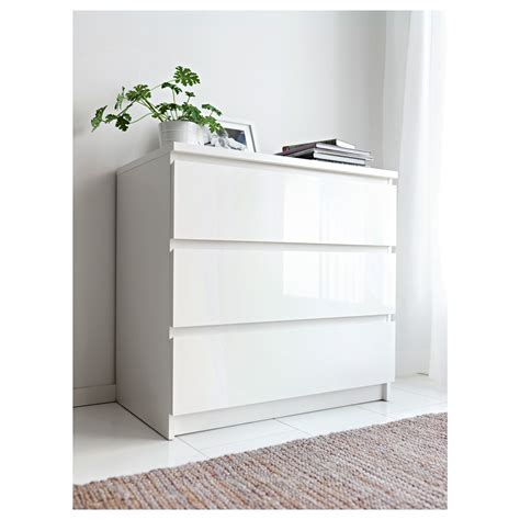 white chest of malm chest of 3 drawers white high gloss 80x78 cm ikea