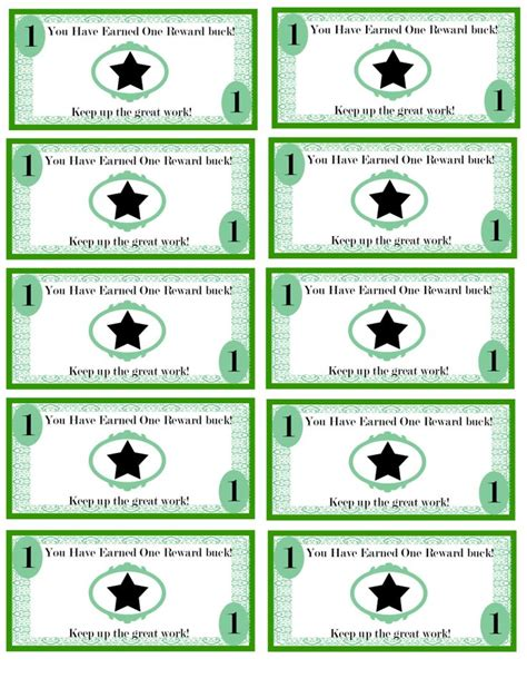 printable reward ticket template free printable reward bucks for kids money theme potty