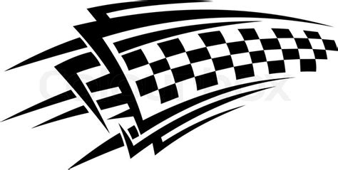 design art racing tribal racing tattoo with checkered flag stock vector