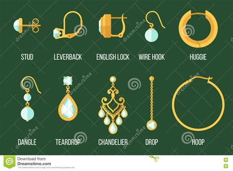 earring types stock vector image of accessories