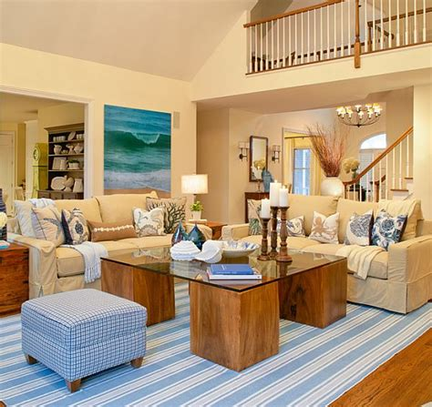 beach themed living room htons estate turquoise interior design by sfa design