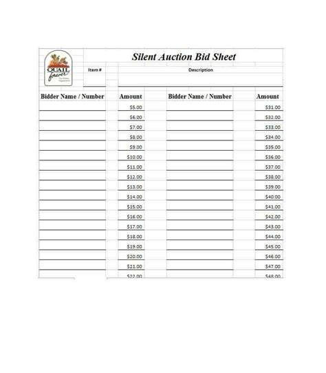 free silent auction bid sheet templates word excel