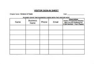 Visitor Sign In Sheet Template by Sle Visitor Sign In Sheet 7 Documents In Word Pdf