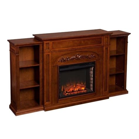 electric fireplace bookcase southern enterprises chantilly bookcase electric fireplace in oak fe8532
