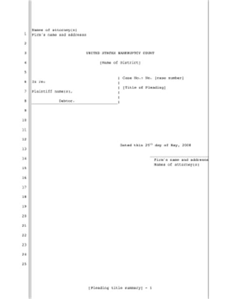 printable legal pleading template for filing bankruptcy in